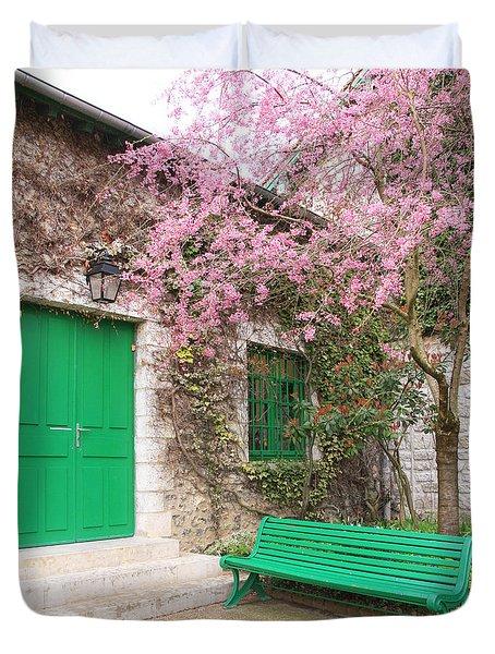 Monet's Bench Duvet Cover