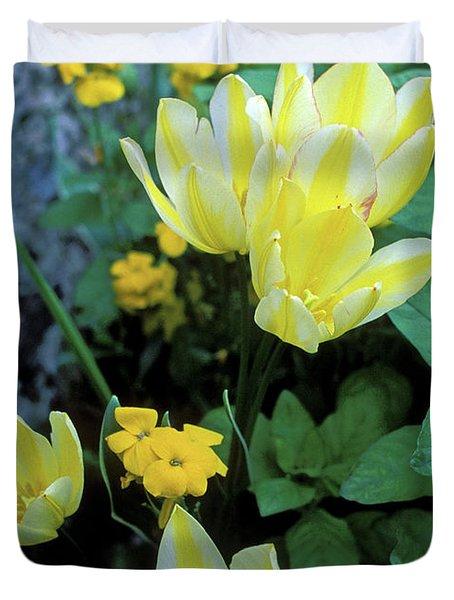 Monet's Fancy Tulips Duvet Cover by Kathy Yates