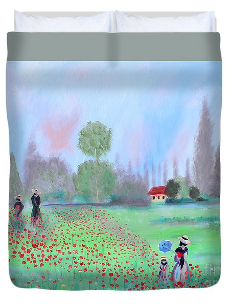 Duvet Cover featuring the painting Monet's Field Of Poppies by Stacey Zimmerman