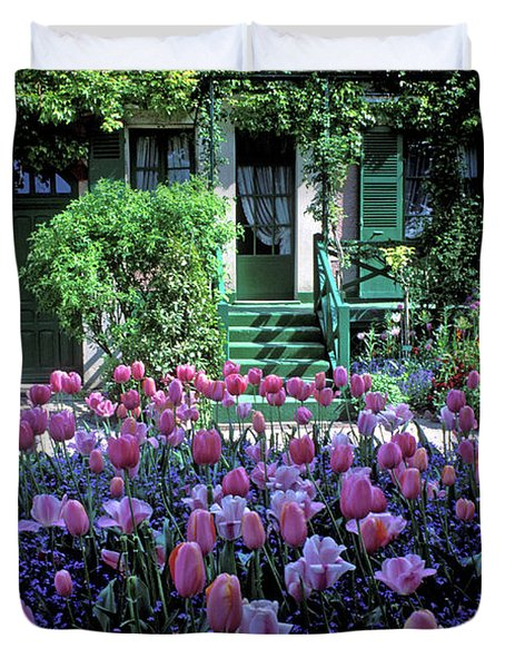 Monet's House With Tulips Duvet Cover by Kathy Yates