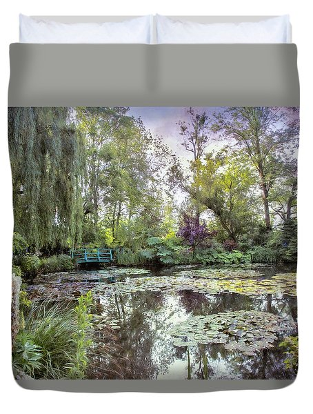 Duvet Cover featuring the photograph Monet's Water Garden by John Rivera