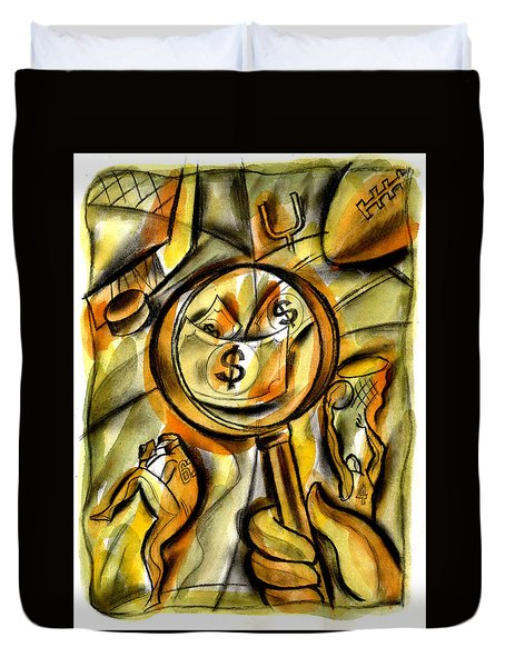 Duvet Cover featuring the painting Money And Professional Sports   by Leon Zernitsky