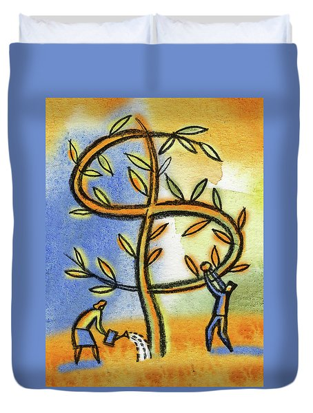 Duvet Cover featuring the painting Money Tree by Leon Zernitsky