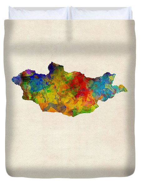 Duvet Cover featuring the digital art Mongolia Watercolor Map by Michael Tompsett