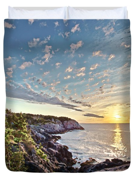 Duvet Cover featuring the photograph Monhegan East Shore by Tom Cameron