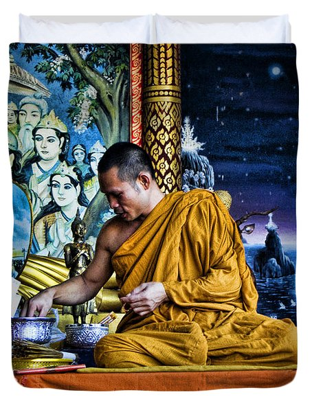 Monk At Big Buddha  Duvet Cover