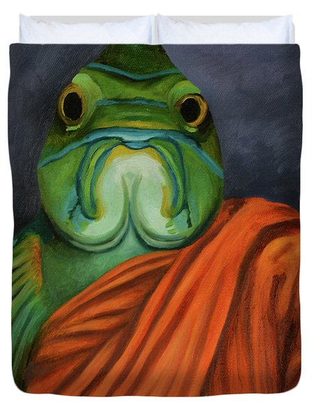 Duvet Cover featuring the painting Monk Fish by Leah Saulnier The Painting Maniac