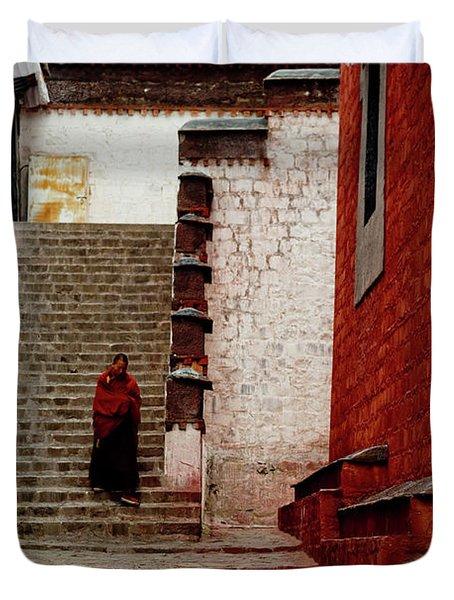 Monk In Tashilhunpo Monastery Shigatse Tibet Artmif.lv Duvet Cover