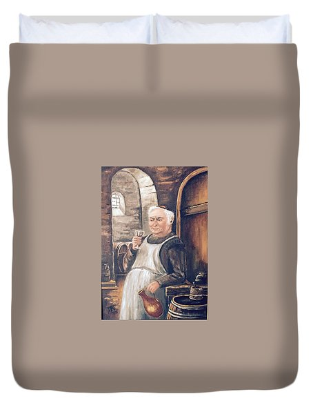 Monk With Wine Duvet Cover