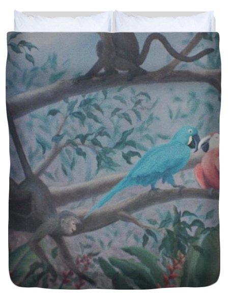 Monkey Artist Painting The Moon  Duvet Cover