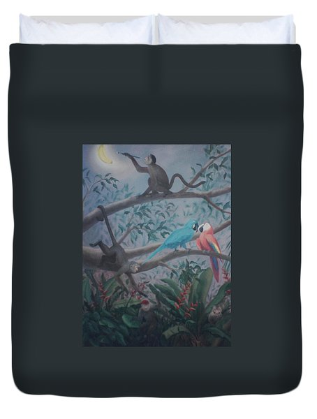 Monkey Artist Painting The Moon  Duvet Cover