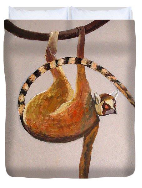 Monkey Detail 1 From Mural Duvet Cover