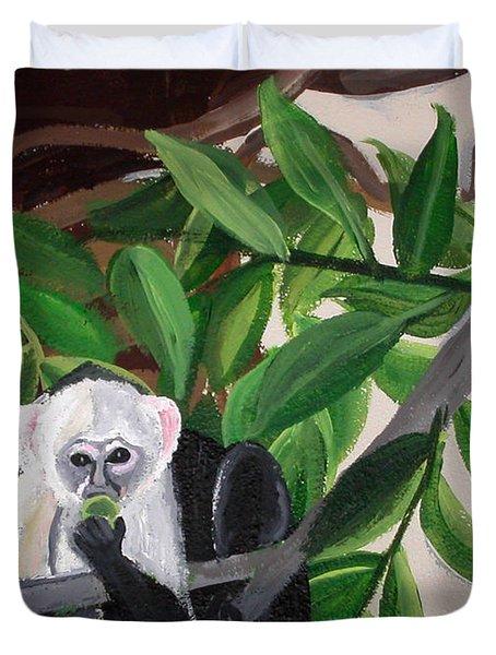 Monkey Detail 2 From Mural Duvet Cover