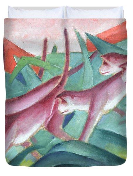 Monkey Frieze Duvet Cover by Franz Marc