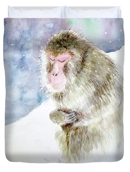 Duvet Cover featuring the painting Monkey In Meditation by Yoshiko Mishina