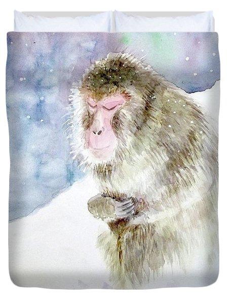 Monkey In Meditation Duvet Cover by Yoshiko Mishina