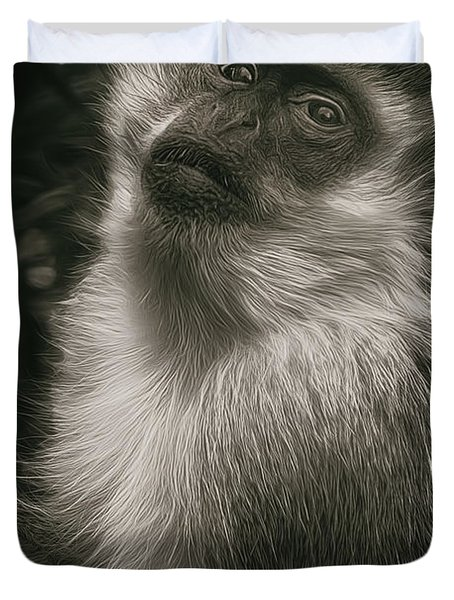 Monkey Portrait Duvet Cover