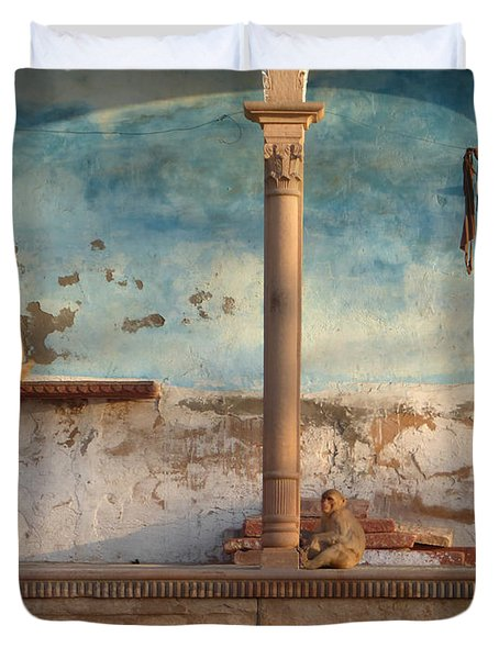 Duvet Cover featuring the photograph Monkeys At Sunset by Jean luc Comperat