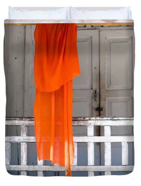 Monk's Robe Hanging Out To Dry, Luang Prabang, Laos Duvet Cover