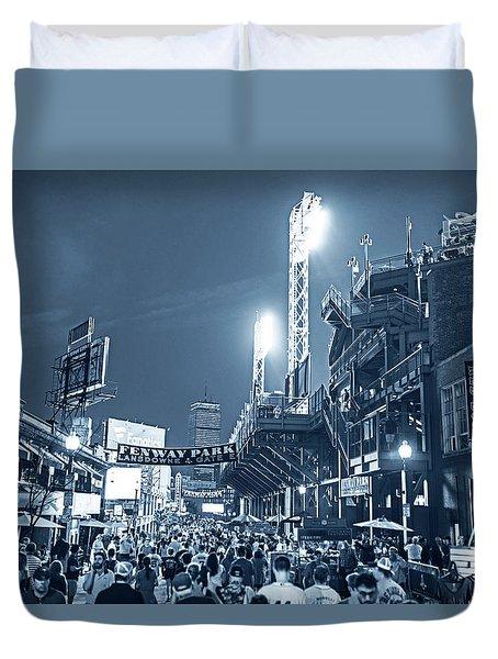 Monochrome Blue Nights Boston Ma Lansdowne St Fenway Park Game Night Duvet Cover