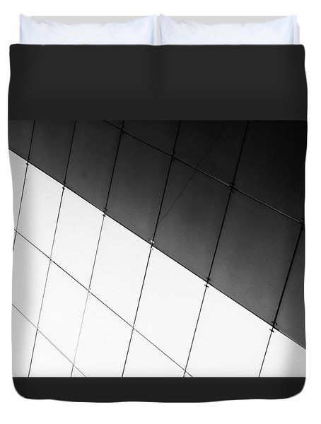 Monochrome Building Abstract 3 Duvet Cover by John Williams