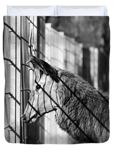 #monochrome #canon #cage #blackandwhite Duvet Cover