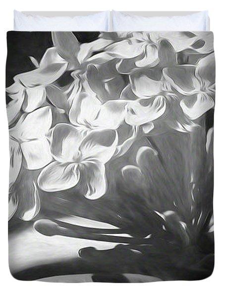 Monochrome Flora Duvet Cover