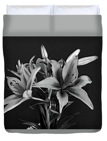 Duvet Cover featuring the photograph Monochrome Grace by Dorin Adrian Berbier