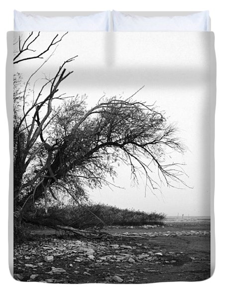 #monochrome #lake #landscape  #stausee Duvet Cover by Mandy Tabatt