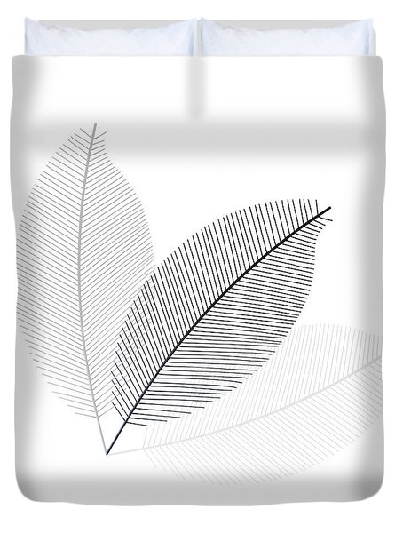 Monochrome Leaves Duvet Cover