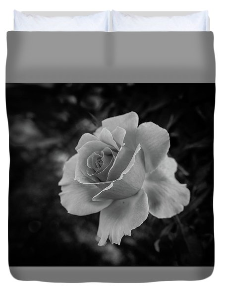 Monochrome Rose Macro Duvet Cover