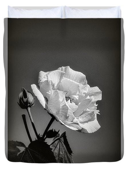 Duvet Cover featuring the photograph Monochrome Rose Of Sharon by Elaine Teague