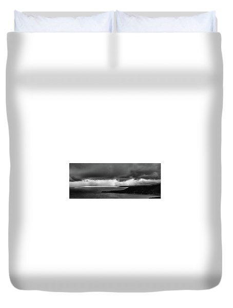 Monochrome Storm Panorama Duvet Cover