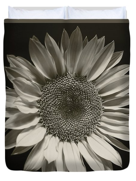 Monochrome Sunflower Duvet Cover