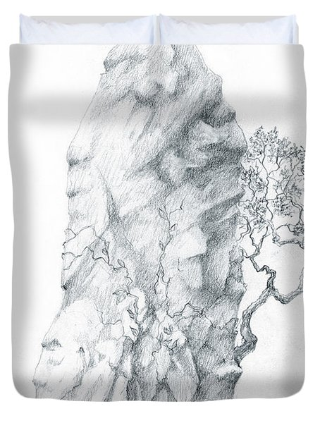 Duvet Cover featuring the drawing Monolith 2 by Curtiss Shaffer