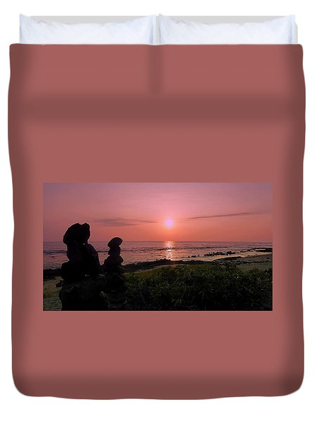 Duvet Cover featuring the photograph Monoliths At Sunset by Lori Seaman