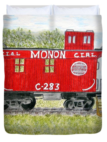 Monon Wood Caboose Train C 283 1950s Duvet Cover