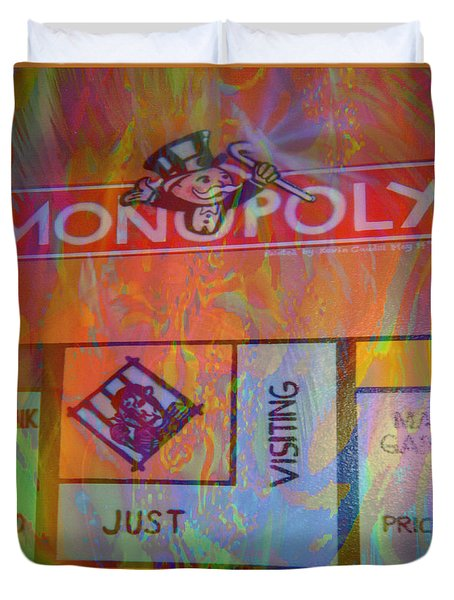 Duvet Cover featuring the mixed media Monopoly Dream by Kevin Caudill