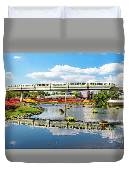 Monorail Cruise Over The Flower Garden. Duvet Cover