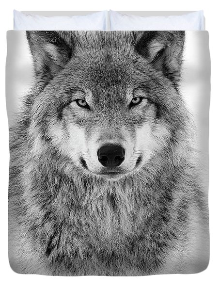 Monotone Timber Wolf  Duvet Cover