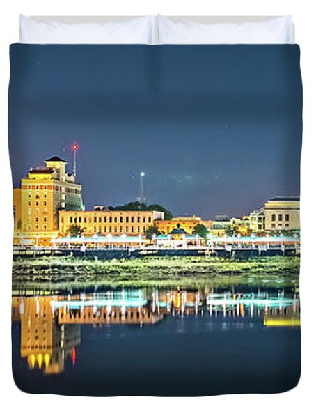 Monroe Louisiana City Skyline At Night Duvet Cover