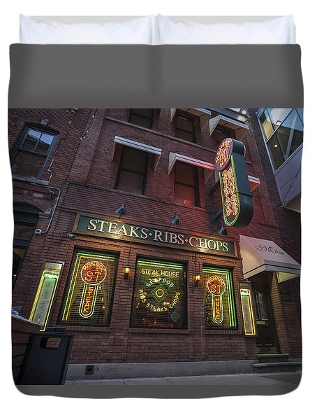 Duvet Cover featuring the photograph Monroe St Steakhouse by Nicholas Grunas