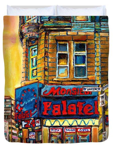 Monsieur Falafel Duvet Cover by Carole Spandau