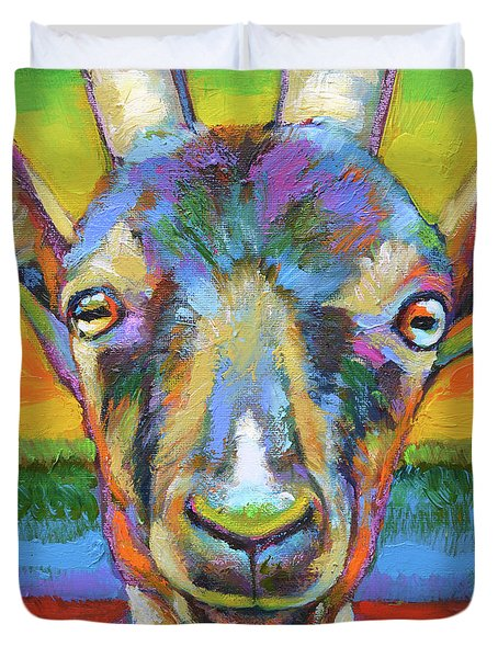 Duvet Cover featuring the painting Monsieur Goat by Robert Phelps