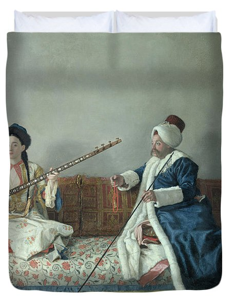 Monsieur Levett And Mademoiselle Helene Glavany In Turkish Costumes Duvet Cover