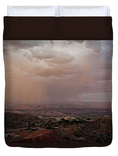 Duvet Cover featuring the photograph Monsoon Lightning And Rainbow by Ron Chilston