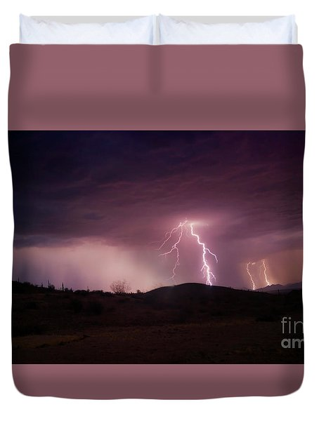 Duvet Cover featuring the photograph Monsoon Lightning by Anthony Citro