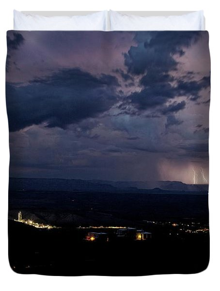 Monsoon Lightning Over Sedona From Jerome Az Duvet Cover