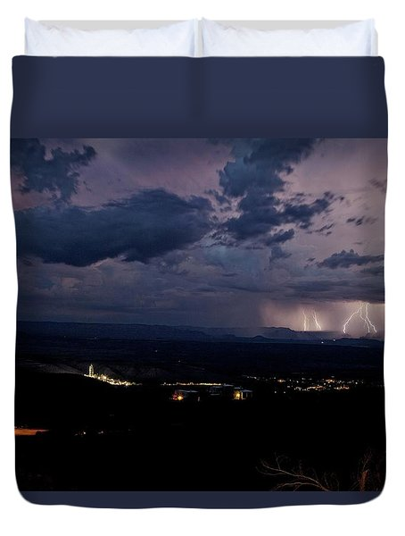 Duvet Cover featuring the photograph Monsoon Lightning Over Sedona From Jerome Az by Ron Chilston