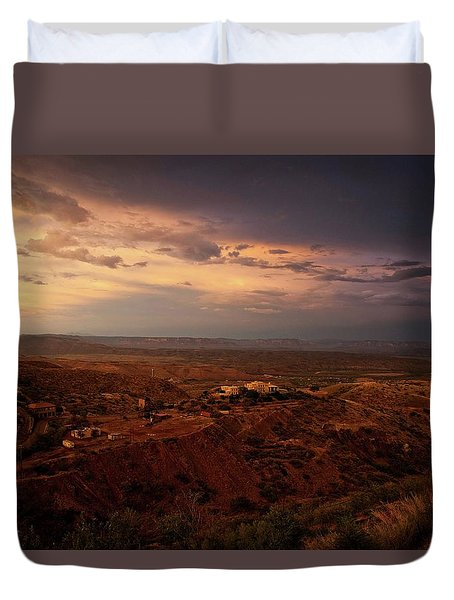 Duvet Cover featuring the photograph Monsoon Storm Afterglow by Ron Chilston